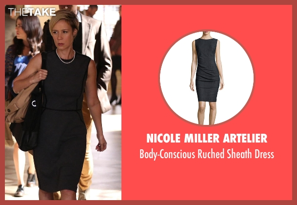 Nicole Miller Artelier gray dress from How To Get Away With Murder seen with Bonnie Winterbottom (Liza Weil)