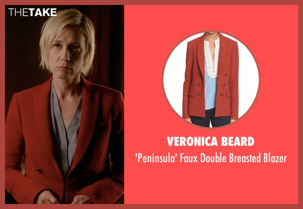 Veronica Beard red blazer from How To Get Away With Murder seen with Bonnie Winterbottom (Liza Weil)
