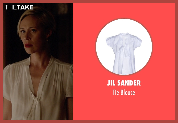 Jil Sander white blouse from How To Get Away With Murder seen with Bonnie Winterbottom (Liza Weil)