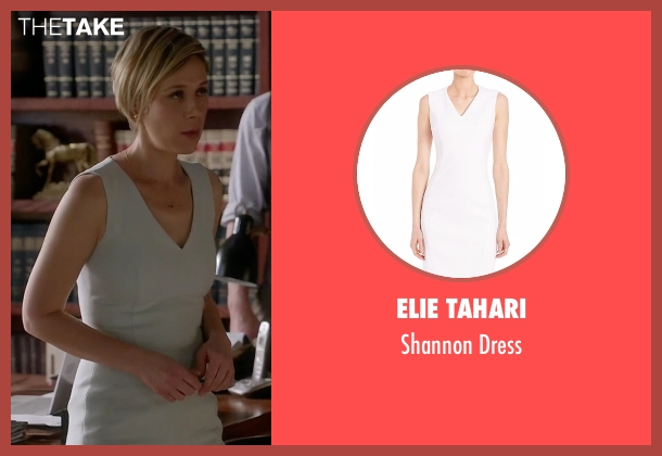 Elie Tahari white dress from How To Get Away With Murder seen with Bonnie Winterbottom (Liza Weil)