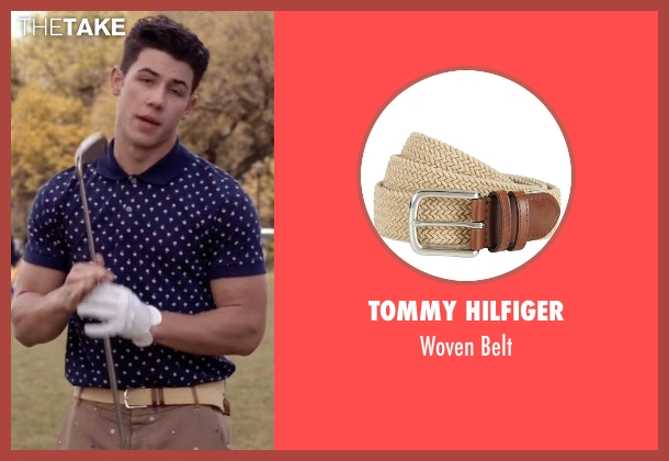Tommy Hilfiger beige belt from Scream Queens seen with Boone (Nick Jonas)