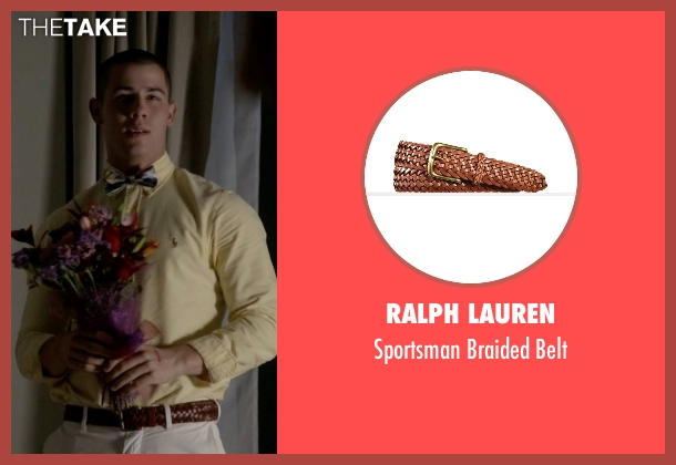Ralph Lauren brown belt from Scream Queens seen with Boone (Nick Jonas)