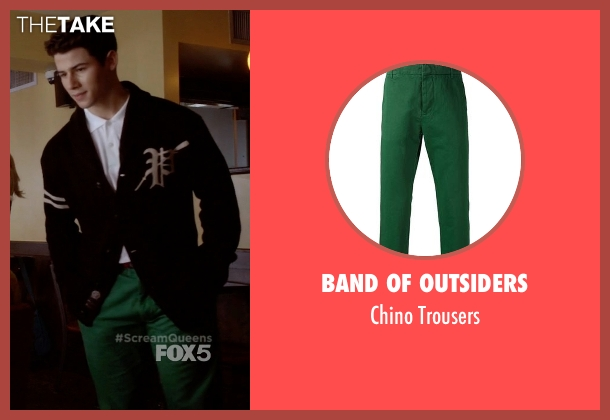Band of Outsiders green trousers from Scream Queens seen with Boone (Nick Jonas)