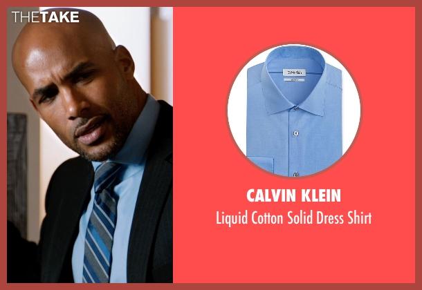 Calvin Klein blue shirt from Addicted seen with Boris Kodjoe (Jason Reynard)