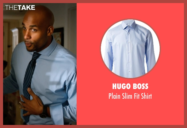 Hugo Boss blue shirt from Addicted seen with Boris Kodjoe (Jason Reynard)