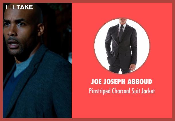 JOE Joseph Abboud gray jacket from Addicted seen with Boris Kodjoe (Jason Reynard)