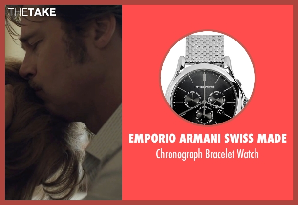 Emporio Armani Swiss Made silver watch from By the Sea seen with Brad Pitt (Roland)