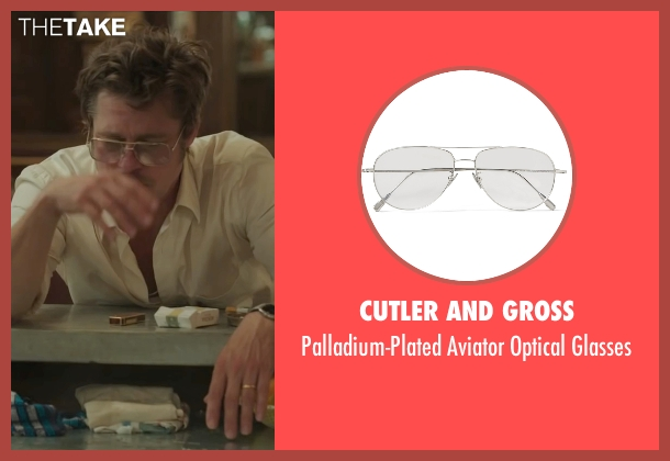 Tom Ford white eyeglasses from By the Sea seen with Brad Pitt (Roland)