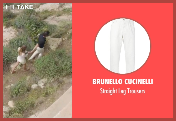 Brunello Cucinelli white trousers from By the Sea seen with Brad Pitt (Roland)