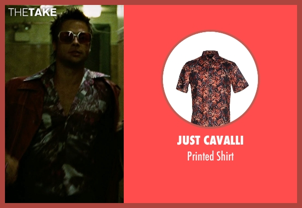 Just Cavalli red shirt from Fight Club seen with Brad Pitt (Tyler Durden)
