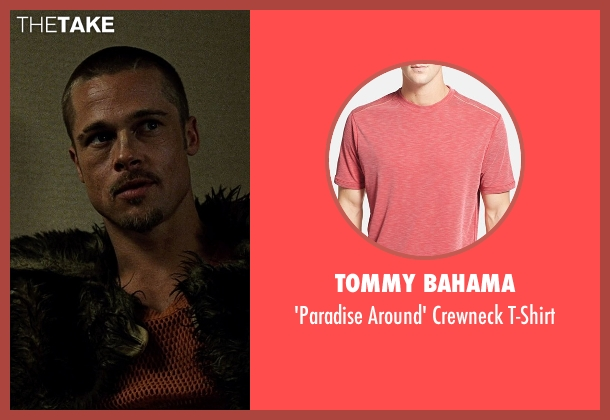 Tommy Bahama red t-shirt from Fight Club seen with Brad Pitt (Tyler Durden)