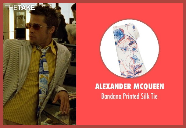 Alexander McQueen	 white tie from Fight Club seen with Brad Pitt (Tyler Durden)