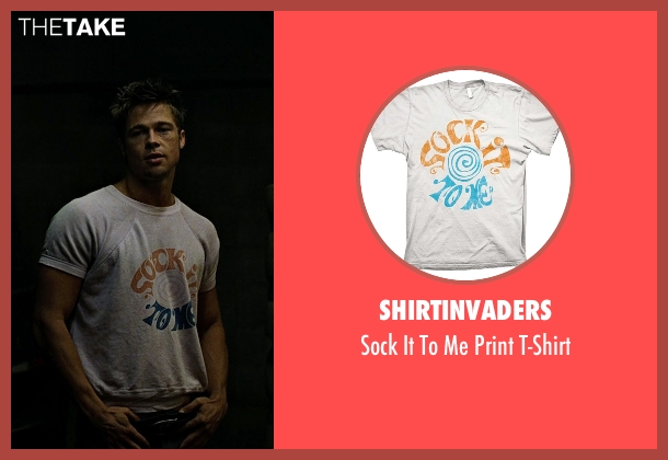 ShirtInvaders white t-shirt from Fight Club seen with Brad Pitt (Tyler Durden)