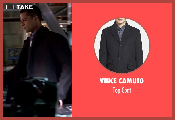 Vince Camuto black coat from Mr. & Mrs. Smith seen with Brad Pitt (John Smith)