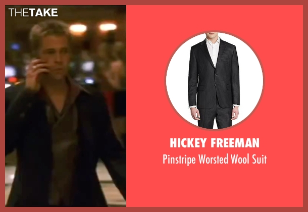 Hickey Freeman black suit from Ocean's Eleven seen with Brad Pitt (Rusty Ryan)