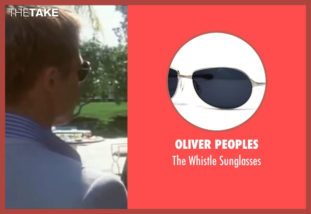 Oliver Peoples blue sunglasses from Ocean's Eleven seen with Brad Pitt (Rusty Ryan)