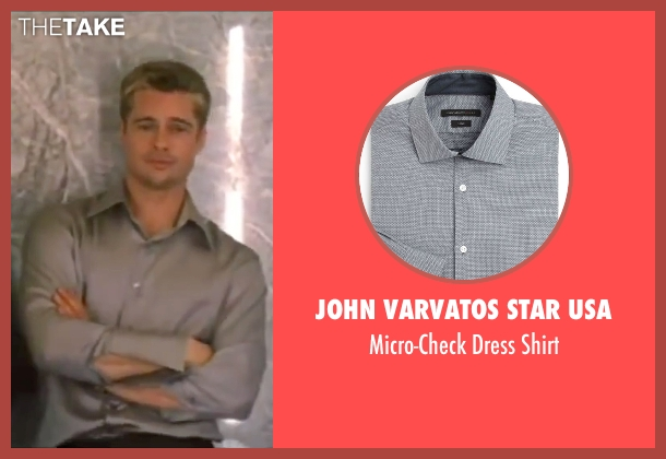 John Varvatos Star USA gray shirt from Ocean's Eleven seen with Brad Pitt (Rusty Ryan)