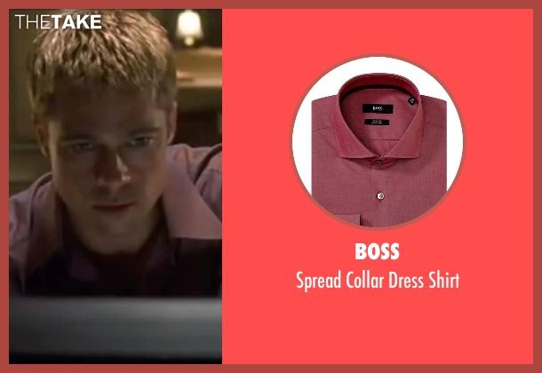 Boss red shirt from Ocean's Eleven seen with Brad Pitt (Rusty Ryan)