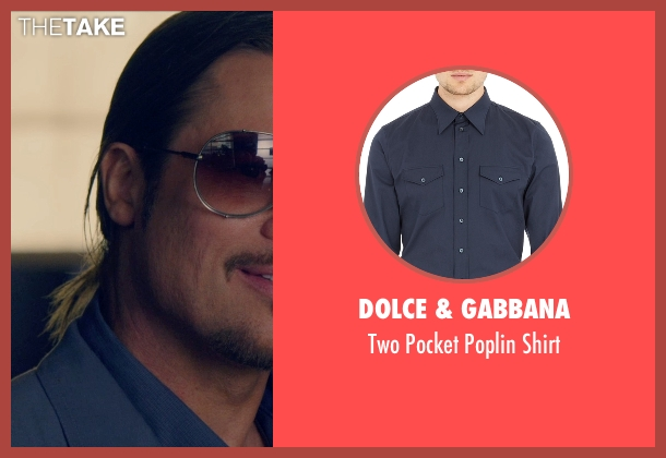Dolce & Gabbana blue shirt from The Counselor seen with Brad Pitt (Westray)
