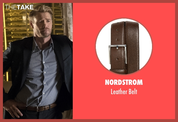 Nordstrom brown belt from Scream Queens seen with Brad Radwell (Chad Michael Murray)