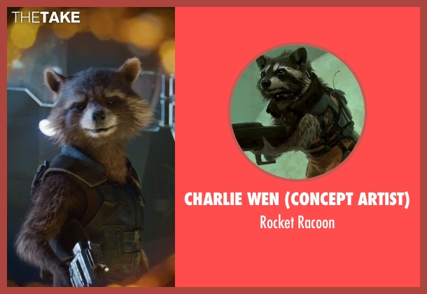 Charlie Wen (Concept Artist) racoon from Guardians of the Galaxy Vol. 2 seen with Bradley Cooper (Rocket Raccoon)
