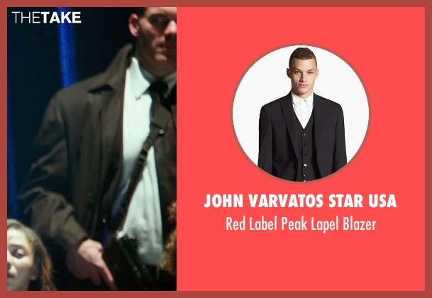 John Varvatos Star USA black blazer from The Purge: Anarchy seen with Brandon Keener (Warren Grass)