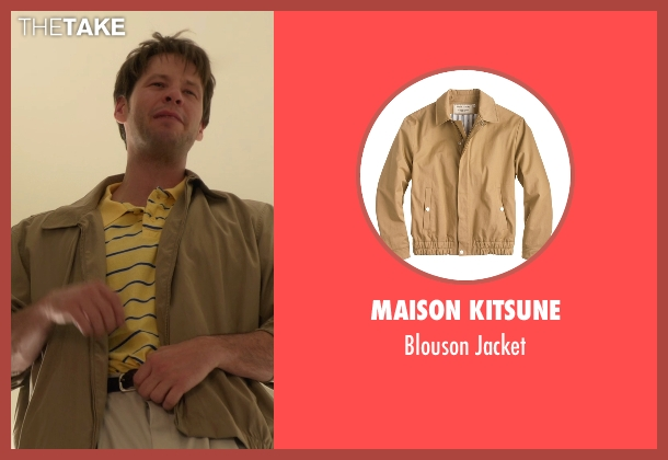 Maison Kitsune beige jacket from The Mindy Project seen with Brendan Deslaurier  (Mark Duplass)