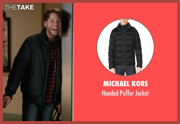Michael Kors black jacket from The Mindy Project seen with Brendan Deslaurier  (Mark Duplass)