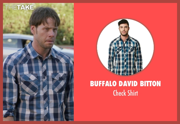 Buffalo David Bitton blue shirt from The Mindy Project seen with Brendan Deslaurier  (Mark Duplass)
