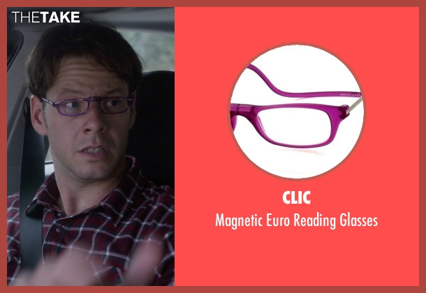 Clic purple glasses from The Mindy Project seen with Brendan Deslaurier  (Mark Duplass)