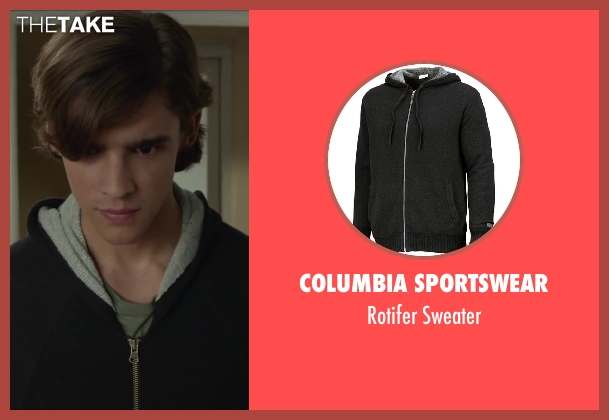 Columbia Sportswear black sweater from Oculus seen with Brenton Thwaites (Tim Russel)