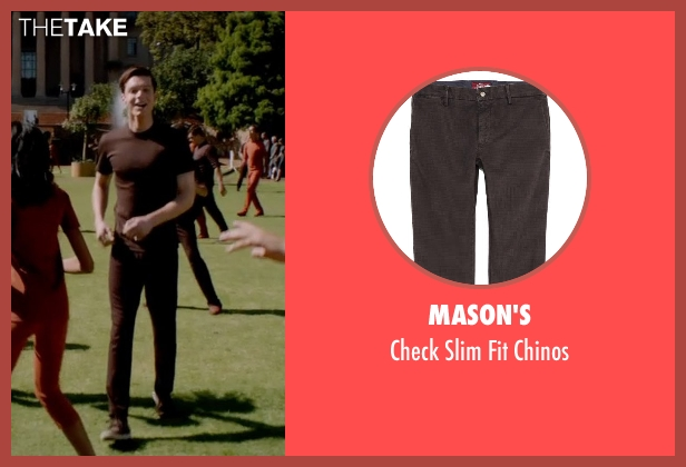 Mason's brown chinos from The Giver seen with Brenton Thwaites (Jonas)
