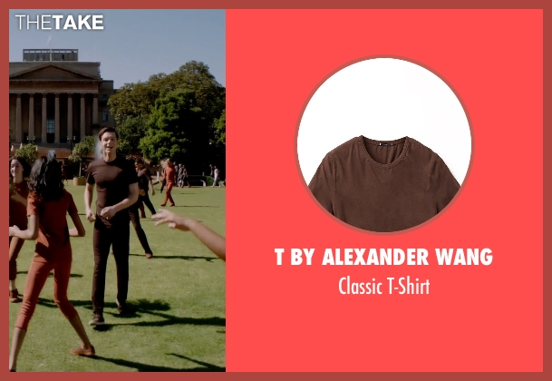 T by Alexander Wang brown t-shirt from The Giver seen with Brenton Thwaites (Jonas)