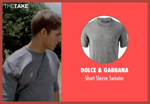 Dolce & Gabbana gray sweater from The Giver seen with Brenton Thwaites (Jonas)