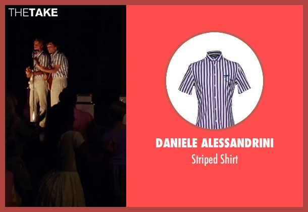 Daniele Alessandrini purple shirt from Love & Mercy seen with Brett Davern (Carl Wilson)