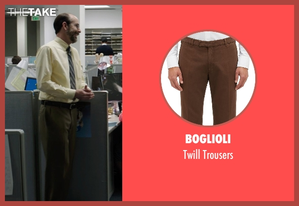 Boglioli brown trousers from Neighbors seen with Brian Huskey (Bill Wazowkowski)