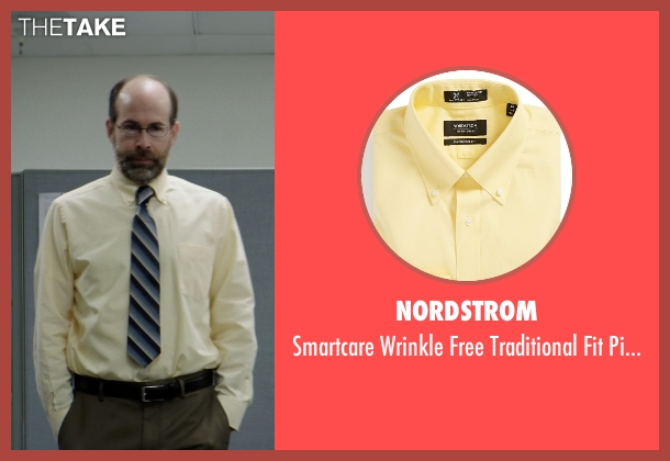 Nordstrom yellow shirt from Neighbors seen with Brian Huskey (Bill Wazowkowski)