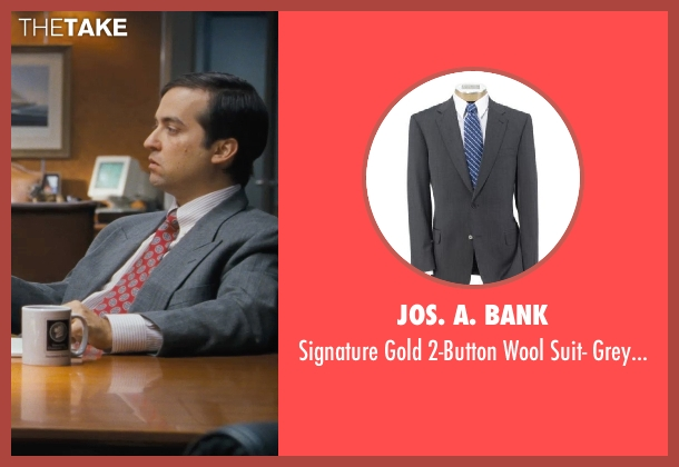 Jos. A. Bank gray herringbone from The Wolf of Wall Street seen with Brian Sacca (Robbie Feinberg ('Pinhead'))