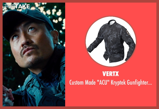 Vertx blue shirt from Jurassic World seen with Brian Tee (Takashi Hamada)