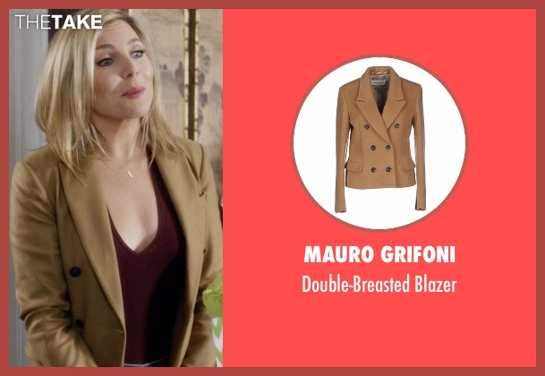 Mauro Grifoni beige blazer from Grace and Frankie seen with Brianna Hanson (June Diane Raphael)