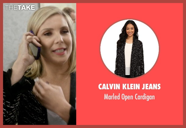 Minkpink black cardigan from Grace and Frankie seen with Brianna Hanson (June Diane Raphael)