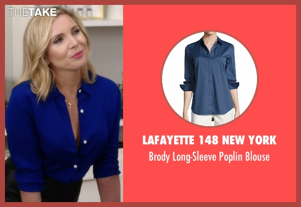 Lafayette 148 New York blue blouse from Grace and Frankie seen with Brianna Hanson (June Diane Raphael)