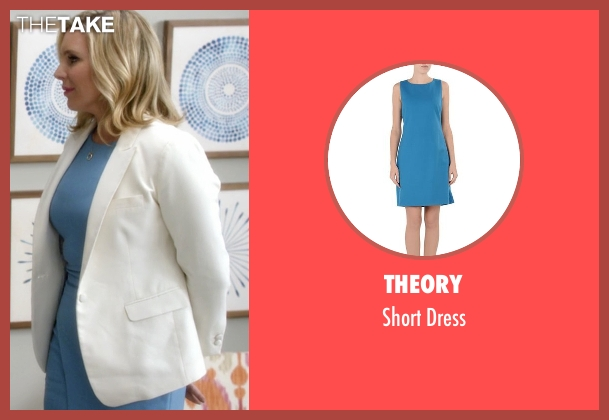 Theory blue dress from Grace and Frankie seen with Brianna Hanson (June Diane Raphael)
