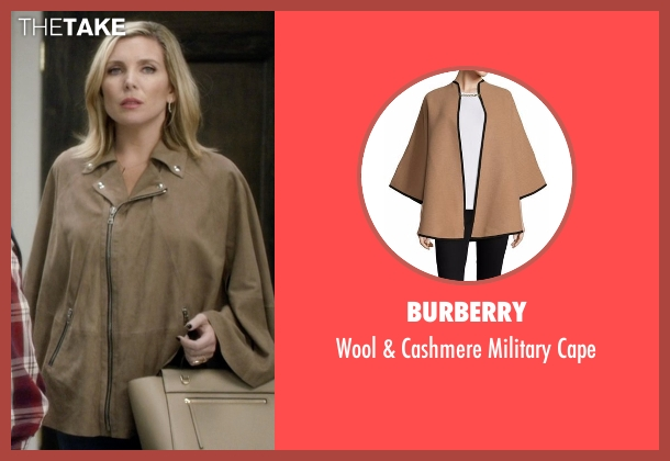 Burberry brown cape from Grace and Frankie seen with Brianna Hanson (June Diane Raphael)