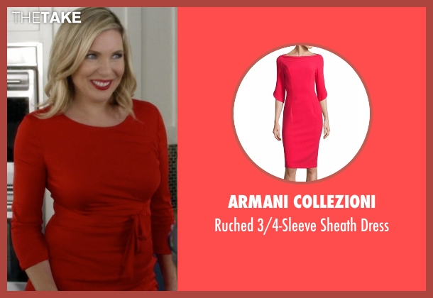 Just Cavalli red dress from Grace and Frankie seen with Brianna Hanson (June Diane Raphael)