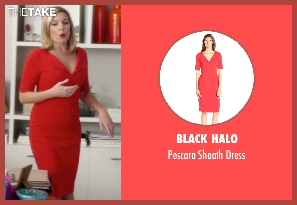 Black Halo red dress from Grace and Frankie seen with Brianna Hanson (June Diane Raphael)
