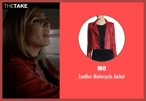 Iro red jacket from Grace and Frankie seen with Brianna Hanson (June Diane Raphael)