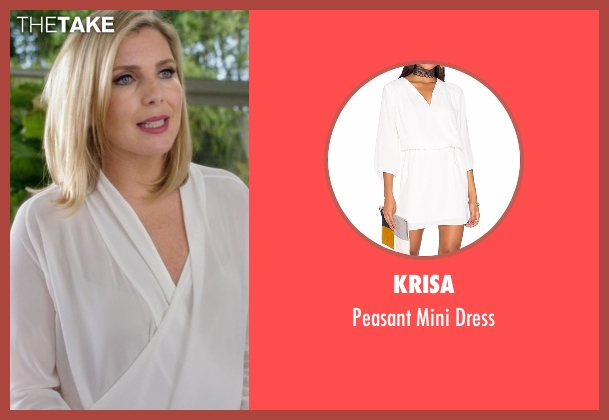 Krisa white dress from Grace and Frankie seen with Brianna Hanson (June Diane Raphael)