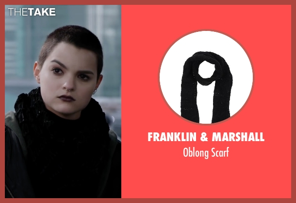 Franklin & Marshall black scarf from Deadpool seen with Brianna Hildebrand (Negasonic Teenage Warhead)