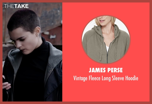 James Perse green hoodie from Deadpool seen with Brianna Hildebrand (Negasonic Teenage Warhead)